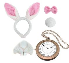 BUNNY SET FANCY DRESS ACCESSORY SET WONDERLAND RABBIT COSTUME EARS + MEDALLION POCKETWATCH CLOCK + BOWTIE + TAIL + NOSE & TEETH IN PINK BOOK WEEK ILOVEFANCYDRESS http://www.amazon.co.uk/dp/B00K5PF7T4/ref=cm_sw_r_pi_dp_O9g-wb08RJKDV
