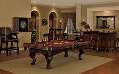 Timeless elegance coupled with an unparalleled quality in construction allow the Megan pool table to easily transition into any room setting. Its classic design and captivating style make it an excellent choice for any home billiard room. With a solid wood cabinet, leather shield pockets and Legacy's perfect corner technology, the Megan pool table's unmatched quality is backed by a lifetime warranty.