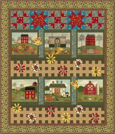 "Barb Cherniwchan, of Coach House Designs has created 3 wonderful patterns using ""Coming Home.""  Barb Cherniwchan, of Coach House Designs has created 3 wonderful patterns using ""Coming Home.""  This one uses the entire panel and is called ""Country Roads.""  Be sure to visit her website to see her other quilts."