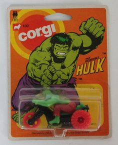 Vintage 1980 CORGI 100 The Incredible Hulk on Motorcycle Trike on Card #56115