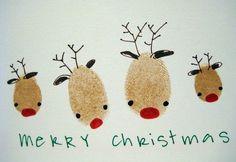 Kerstkaart met het hele gezin maken (vingerafdruk)