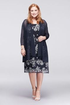 This knee-length plus-size shift dress is topped with a 3/4-sleeve mesh jacket for a hint of coverage that lets its metallic lace shine through.  By R&M Richards  Two-piece ensemble  Nylon  Back zipper; fully lined  Hand wash  Imported  Also available in regular