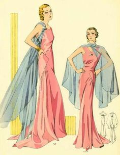 Gorgeous 1930s evening gown fashion illustration. Love the colors depicted in the illustration.
