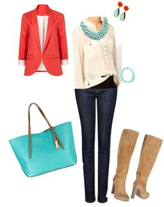 """""""coral and teal"""" by mccormrl on Polyvore"""