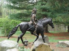 BRONZE JOCKEY ON LIFE SIZE HORSE, Indian chief on horse, SULKY HORSE