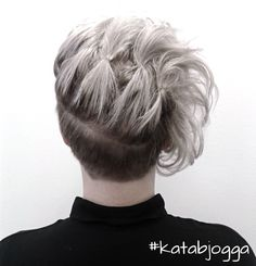 White hair updo with undercut