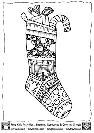 Cute Christmas stocking Colouring Page for Kids from our free