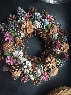 Pink pine cone wreath -use fall colors This unique pine cone wreath in shades of blue, gray, pink and white would make a lovely house-warming gift or brighten up your own home. Each pine cone is hand Herbstlicher Tannenzapfen-Kranz Source by rukiyeay Make Nature Crafts, Fall Crafts, Holiday Crafts, Christmas Wreaths, Diy And Crafts, Christmas Crafts, Arts And Crafts, Christmas Ornaments, Christmas Christmas