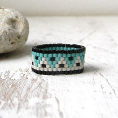Beaded ring Band ring Hippie ring Peyote ring by HappyBeadwork