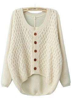 Beige Buttons Epaulet Long Sleeve Loose Acrylic Cardigan