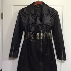 BEBE black Jacket Black Bebe jacket. 70% cotton/30% polyester. Wore once. It's super cute on with black skinny leggings or a dress. Can wear with or without the belt. It's a great deal! bebe Jackets & Coats