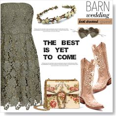 Best Dressed Guest: Barn Weddings by viola279 on Polyvore featuring polyvore, moda, style, Gucci, fashion, clothing, crown, lacedress, bestdressedguest and barnwedding