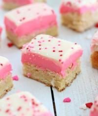 Sugar Cookie Bars with a white chocolate topping. This will make a fun dessert for today!