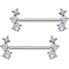 14g 4mm Cubic Zirconia Stainles Steel Bar Straight Nipple Ring Barbell YG
