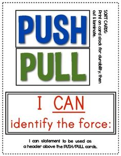 (sample page) FORCE and MOTION: Push and Pull Cards for Games/Sorting Activities.