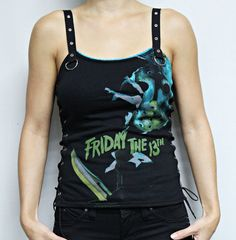 This wicked Friday the 13th top features my signature Strap top tank design. Black twill eyelet shoulder straps and d-ring accents. Lace up sides with black elastic. Stretch lace detailing.  Special Price for a limited time! I am offering Discounts on all Horror merch for multiple purchases. Please contact me if interested.  Available in size Small Bust: 32-34 inches/ 81-86 cm Waist: Up to 28 inches/ 71 cm  Check out my other Horror Tanks here…
