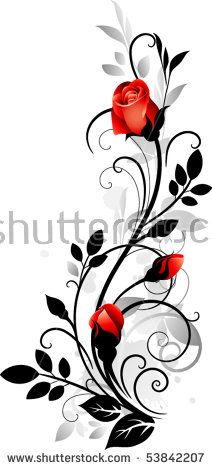 Ornament with roses – kaufen Sie dieses stock-vektorgrafik auf Shutterstock un… Ornament with roses – Buy this stock vector artwork on Shutterstock and look for more pictures. Rose Illustration, Art Floral, Fabric Painting, Flower Tattoos, Rose Vine Tattoos, Body Art Tattoos, Tattoo Arm, Tattoo Ribs, Flower Art