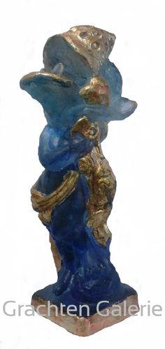 Prima donna/hippo   Hippo   Nijlpaard   Antoon van wijk   Gegoten glas   Cast glass   Kunst   Art   Grachten Galerie   Glass art   Glas kunst   Binnen   Inside   Gold foil   Bladgoud   Blauw   Blue   Gold   Goud