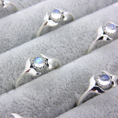 Image of Sterling Silver & Rainbow Moonstone Mermaids Embrace Ring
