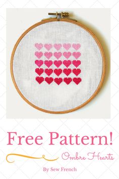 Free Cross Stitch Pattern! Pretty Pink Ombre Hearts! DMC Floss. Tutorial. DIY. Learn To Stitch! Projects. Hearts. Crafts. Needlecrafts. Handmade. Fun. Embroidery. Romantic.