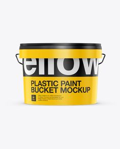 3L Plastic Paint Bucket Mockup - Front View (Eye Level Shot). Preview
