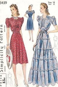 Simplicity 3439; ©1940; Junior Misses' and Misses' Dress and Bolero in Two Lengths. Front of blouse gathers at neck and at lower edge; short puff sleeves. Long dress is trimmed with frilling. Short sleeved bolero, darted on shoulder. Frilling optional. | Vintage Patterns Wikia