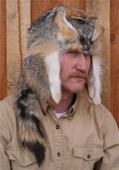 Gray fox mountain man style fur hat for sale. Visit our website to see a wide variety of fur hats for sale from Glacier Wear. Types Of Mens Hats, Bushcraft, Mountain Man Clothing, Old Man Hat, Mountain Man Style, Grey Fox, Gray, Survival, Hat Patterns To Sew