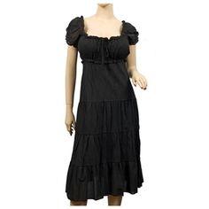 Plus Size MidNight Black Cotton Empire Waist SunDress #plussizefashion #dress