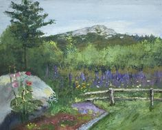 """""""Mt. Monadnock Dressed in Lupines"""", 16"""" x 20"""", oil"""