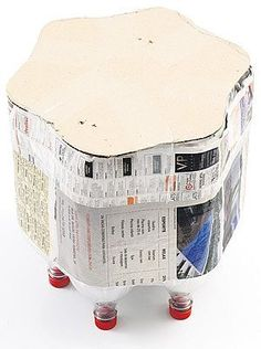 kids seat from plastic bottles and paper. Why didn't I come across this sooner?