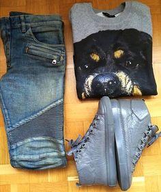 Current Mood - BALMAIN Biker Jeans, BALENCIAGA Arena Sneakers, GIVENCHY Rottweiler Sweatshirt