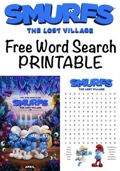 SMURFS THE LOST VILLAGE FREE WORD SEARCH PRINTABLE #SmurfsMovie #RWM #ad Fun Games For Kids, Craft Activities For Kids, Crafts For Kids, Free Word Search, Lost Village, Projects For Adults, Family Movie Night, Kids Events, Business For Kids