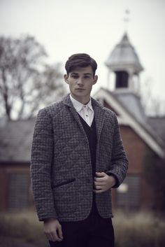 Harlow Mens in a Navy Wool Club Check