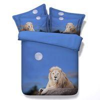 Luxury Moonlight Crouched Lion Blue 4 Pcs Duvet Cover Sets Bed linen 100% Cotton 3D Bedding Sets Twin Queen King Super king size