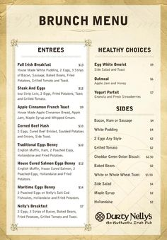 Guess who has a new Brunch Menu? That would be Durty Nelly's. The Full Irish Breakfast look delish. Irish Breakfast, Hotel Breakfast, Breakfast Menu, Brunch Menu, Dinner Menu, Sunday Brunch, Brunch Ideas, Fried Beans, Vintage Menu