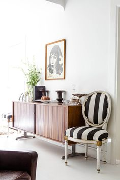 Oversized stripes. Black and white striped French chairs.