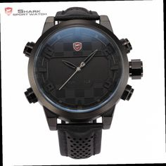 44.99$  Watch here - http://ali2o7.worldwells.pw/go.php?t=1968723357 - 2016 Shark Sport Watch LED Digital Dual Time Stainless Steel Auto Date Alarm Leather Band Black Male Clock Men Relojes / SH206 44.99$