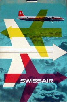 Ghosts Of The Great Highway: 10 Fine Examples. Vintage Swiss Air Posters