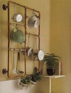 Industrial chick, copper pipe pot rack or towel rails