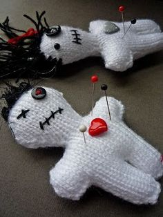 Free Knitting Pattern for Voodoo Doll Pincushion from Creations of Crazy Dazy