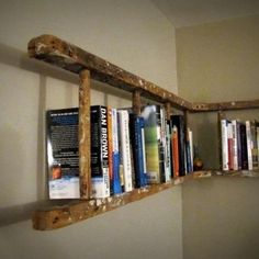 DIY Space saver! Ladder turned bookshelf!