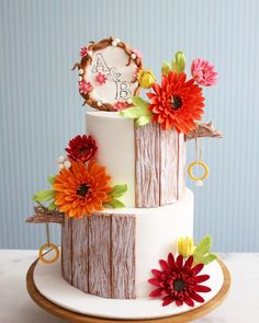 Gerbera daisy engagement cake by asli - http://cakesdecor.com/cakes/253750-gerbera-daisy-engagement-cake