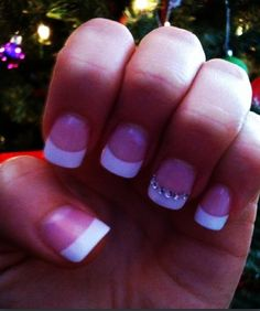 French white tip manicure diamonds or rhinestones on nails