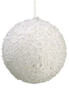 """Pastel Dreams Clear Beaded White Victorian Lace Christmas Ball Ornament 4"""" (100mm)"""