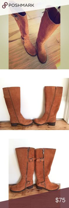 Brown suede embossed nubuck boots Brand new! Never been worn. A roomier shaft to provide extra room for fuller calves. Small heel. Will pair well with A N Y T H I N G Lucky Brand Shoes Heeled Boots