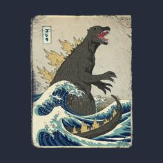 Add a super look to your home with The Stupell Home Decor Collection Godzilla in the Waves Eastern Poster Style Illustration by Michael Buxton Wood Wall Art. Wood Wall Art, Framed Wall Art, Canvas Wall Art, Canvas Prints, Painting Prints, Fine Art Prints, Paintings, The Great, Removable Wall Murals