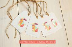 dovanų etiketė, velykinė dovanų, origami velykinė
