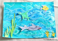 Ocean Art Project for Kids Using Oil Pastels, Watercolor, and Salt ~ BuggyandBuddy.com