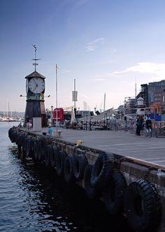 Landmark clock tower, Aker Brygge, Oslo, Norway