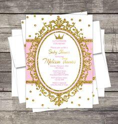 Royal Princess Baby Shower Invitation Pink by PinkSugarPartyShop
